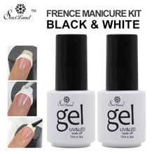 Saviland 2pcs UV Gel Polish French Manicure Nail Art Black and White Colors Free Tip Guides Esmalte French Nail Gel(China)
