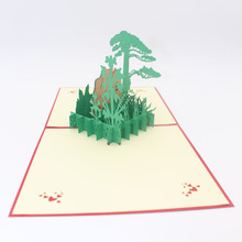 3D Handmade China Mount Huangshan Guest-Greeting Pine Paper Invitation Greeting Cards with Envelope Business Tourism Gift(China)