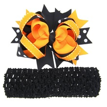 Child Headband Big Bows Girls oversize Bow Over the Top Halloween Bow Orange and Black Head Bows Halloween Photo Prop 1pc HB591