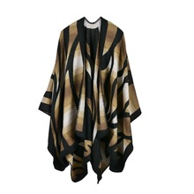 Newest Women Camouflage color Leopard Imitation cashmere scarf Striped Poncho Cape Poncho Wrap Shawl Blanket Cloak