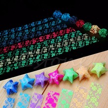 30x Glow in Dark Lucky Star Origami Folding Plastic Strip Paper Four Leaf Clover(China)