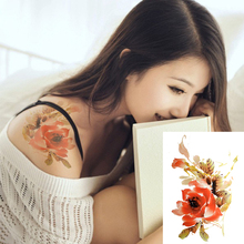 Chinese Ink Painting Tattoo Designs Watercolor Flower Temporary Tattoo Stickers Waterproof Fake Tattoos