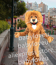 real pictures ! Friendly Lion King Mascot Costume Custom wild cat Cartoon Character wildcat Mascotte Suit Kit Fancy Dress