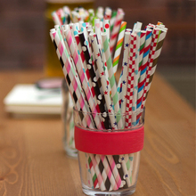 25Pcs Mixed Color Drinking paper straws Tube tools party accessories for Birthday Party Wedding Supplies Aniversary Decoration
