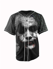 Real American Size joker 3D Sublimation Print Custom made Button up baseball jersey plus size
