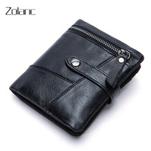 Zolanc Men's Wallet Short Design Genuine Leather Zippered Wallet Stitching First Layer of Leather Purse Two Colors Male Clutch(China)