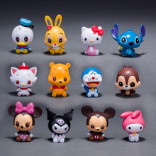 Disney Toys 12pcs/Set Classic Cartoon Figure Mickey Minnie Mouse Hello Kitty Stitch Doraemon Action Figures Toys Model Juguetes