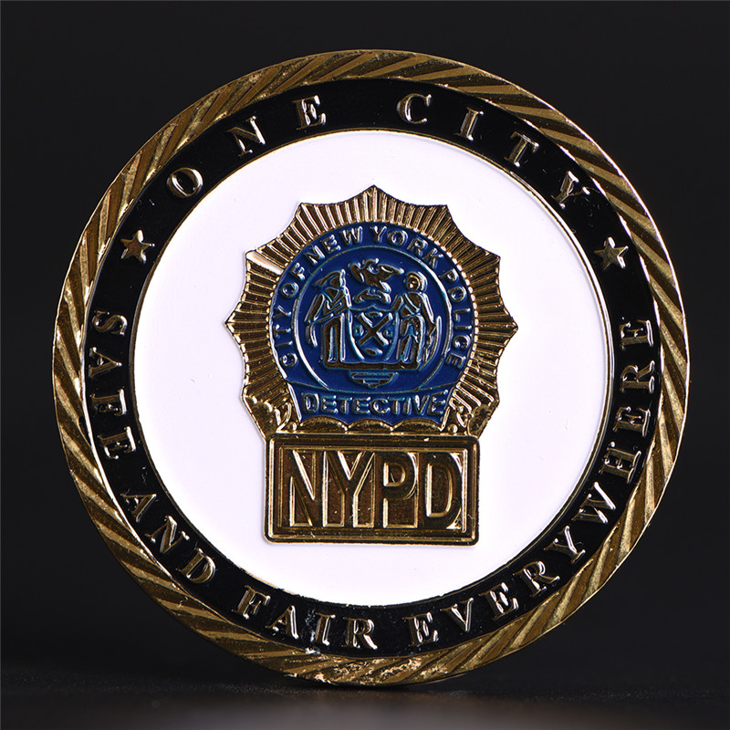 1 Pcs Police Department Gold Plated Coin Commemorative New York Challenge Collection Coin