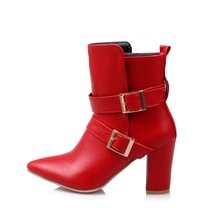 Brand New Hot Sexy Women Ankle Wide Calf Boots Black Red Buckle Ladies Riding Shoes High Heels EMB05 Plus Big size 32 45 11