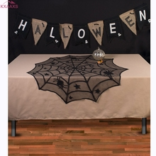 102cm Round Halloween Tablecloth Black Spider Web Lace Mantle for Halloween Party Decoraiton Background Decoration(China)