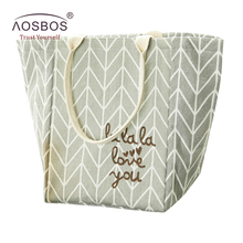 Aosbos Plaid Canvas Lunch Bags for Women Portable Cooler Insulated Lunch Box Bento Picnic Men Thermal Lunch Tote(China)