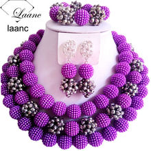 Laanc Nigerian Wedding African Beads Jewelry Set Purple Simulated Pearl Silver Crystal Necklace Earrings for Women NAL474