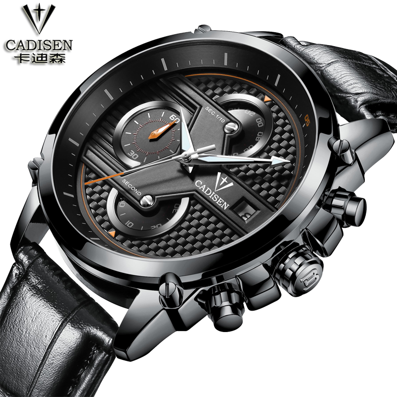 2016 mens watches top brand luxury Three dial work steel&amp;leather Waterproof business mens watches quartz-watch men<br>