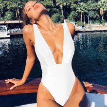 Buy Sexy 2019 One Piece Swimsuit Women Solid Swimwear Female High Waist Beachwear Bathing Suit Summer Swim Suit Monokini Beach Wear