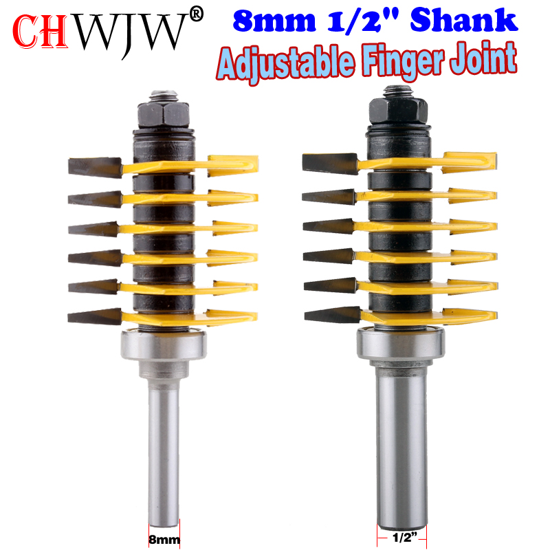 1PC 8mm 1/2 Shank Brand new high quality Adjustable Finger Joint Router Bit ndustrial grade Use in router table only<br>