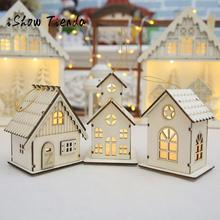 Discount! Led Luminous Cabins Pendant Christmas Table Ornaments Adornos Navidad Envio Gratis Christmas Decorations for Home(China)