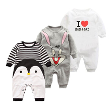 2017 Spring Autumn long sleeved Romper baby clothes children's clothes cartoon Penguin baby animal girl jumpsuit Romper