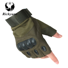 Richyuan Military Usa Special Forces Tactical Gloves Fighting Combat Slip-resistant Black Half Finger Gloves Fitness Leather Men(China)