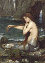 A Mermaid Greek female John William Waterhouse -whole sale oil painting replica -free shipping cost-accept custom-made service