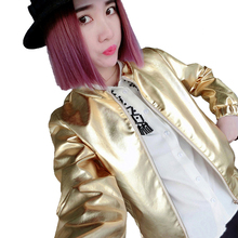 2017 Spring Autumn New Women European And American Fashion Gold Silver Female Baseball Uniform Short Jacket Coat