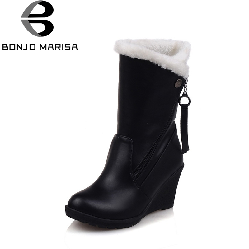 BONJOMARISA Winter Fashion Plus Size 30-52 Fur Platform Mid-calf Woman Boots With Zip Faux Fur High Wedges Women Shoes<br>