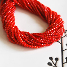 "wholesale natural dyed coral red faceted cut 2mm 3mm 15""/38cm seed beads jewelry making crafts findings for women DIY(China)"
