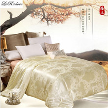 Mulberry Silk Quilts 2017 Bed Comforters Country Quilts Silk Floss Blanket Fabric Super King Quilt Yellow Pink Twin Comforter(China)