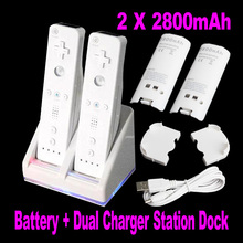 Double Dual Remote Charger Dock Sation with 2 Rechargeable Battery LED light For Nintendo Wii Remote