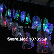 Solar Power 30 LED bell bell shaped design Outdoor Garden Yard Snowflake Pompons String Light Xmas Party Lamp free shpping(China)