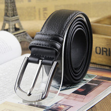 Fashion MEN's Genuine Leather Waist Strap Belts Pin Metal Buckle Litchi grain Cow Leather Man's belt 3pcs/lot(China)