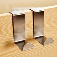 2Pcs Stainless Over Door Hooks Kitchen Cabinet Draw Towel Clothes Holder Hanger 2017 Hot Sale