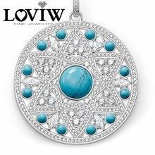 European Style Round Turquoise Ornament Pendants for Women Men Fit DIY Silver European PUNK Brand Fashion Jewelry Gifts