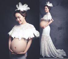 New Maternity Photography Props White Feather Lace Perspective Maternity Dresses For Pregnant Women Headwear+ Tops +skirts(China)