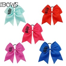 1Pc High Quality Printed Grosgrain Ribbon Hairbows With Ties Rubbers For Gir Cheerleaders Gift(China)