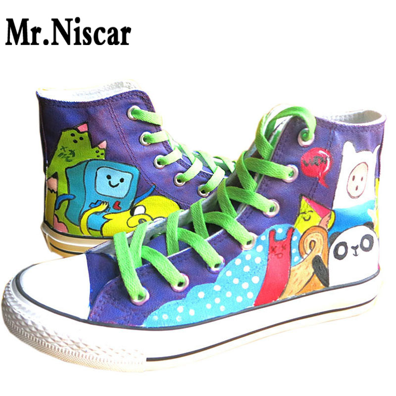 LEO Cartoon Anime Hand Painted Canvas Shoes Boys Girls Adventure Time Graffiti Fashion Flat Shoe High-Top Lace-Up Casual Shoes<br><br>Aliexpress