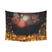 Firework Sky Lantern Home Decor Wall Art, Love Wish Lanterns Tapestry Wall Hanging Art Sets 80 X 60 Inches(China)