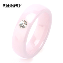 TUHE New Arrival Pink Ceramic Rings For Women Huge Zircon Cabochon Setting Ceramic Wedding Rings Cute Simple Unique Design(China)
