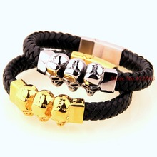 Promotion! New Fashion Mens Braided Genuine Black Leather Surfer Stainless Steel Gold / Silver Skull Heads Bracelet 11mm Bangle