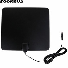 SOONHUA Indoor 50 Miles Booster Active Digital TV Antenna Aerial 25DB Gain Freeview HD Flat Design High Gain HD TV DTV Box(China)