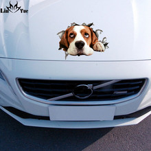 3D cute lovely Beagle dog Sticker For Car Laptop Decal Fridge Skateboard Kids Gift Kitchen Cute Home Decor Broken DIY waterproof(China)