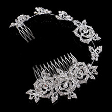Elegance Roses Flower Designs Austria Crystal Rhinestone Princess Wedding Tiara Bridal Long Hair Comb Hair Accessories(China)
