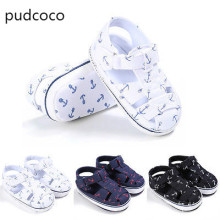 Summer Infant Toddler Baby Boy Soft Sandals Shoes Sole Crib Anti Slip Sandals Print Sneaker Shoes Newborn 0-18M White Black blue