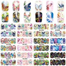 ZKO 1 Sheet Nail Art Wrap Water Transfer Nails Sticker Butterfly Series Water Decals Stickers Decoration Tools Wraps A1297-1308(China)