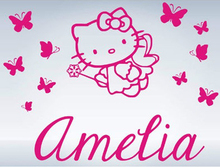 Hello Kitty Butterflies Custom Name Vinyl Wall Decals Wall Stickers Girls Princess Room Decor Free Shipping Large Size:92x70cm(China)