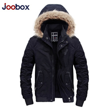JOOBOX Autumn Winter 100%Cotton jackets Men Casual thicken Warm coats High quality fur collar hooded Army Green Men parkas