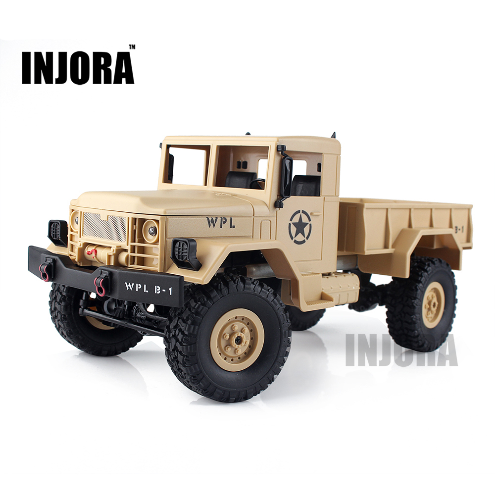 INJORA New 1:16 Scale RC Rock Crawler Off-Road 4WD Military Truck RTR Remote Control Car Toy for Children<br>