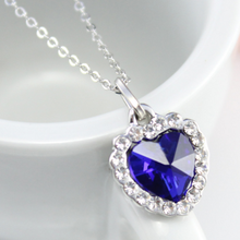 Hot 1Pc Fashion Jewelry Romantic Blue Crystal Rhinestone Ocean Heart Silver Link Chain Women Girl Choker Pendants Necklaces 2017