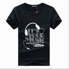 Fashion Summer T-shirt Men brand casual cotton t shirts Men's Letter earphone printed Good Quality Tee #0801