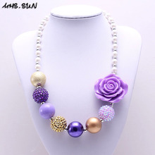 MHS.SUN 1PC Fashion Flower Kid Chunky Necklace Gold+Purple Toddlers Girls Bubblegum Bead Chunky Necklace Children Jewelry(China)