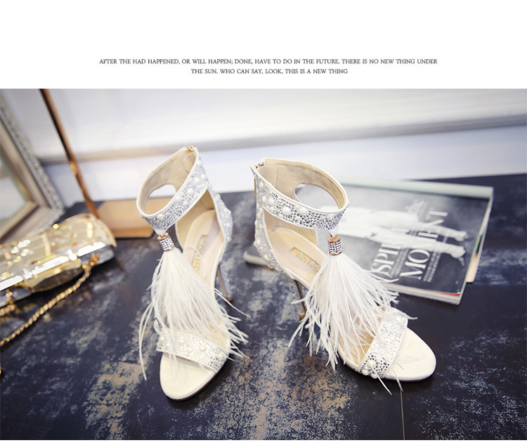 Genuine Leather Women Sandals Summer Shoes High Heels Brand Fur Rhinestone Feather White Woman Wedding Shoes Heels Plus Size 36 14